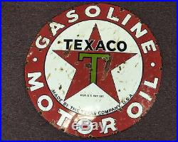 Large Vintage Texaco Gasoline Motor Oil Round Porcelain Steel Sign Single Sided