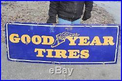 Large Vintage c. 1940 Goodyear Tires Gas Station Oil 66 Porcelain Metal Sign