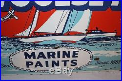 Large Vintage c. 1950 Woolsey Marine Paints Boat Gas Oil 34 Porcelain Metal Sign