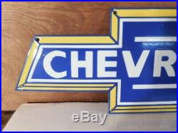 Large Vintage''chevrolet'' Gas & Oil Porcelain 20x7 Inch Heavy Metal