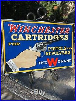 Large''winchester Cartridge'' 15.5x10 Inch Porcelain Dealer Sign The W Brand