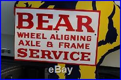 Left Facing Bear Wheel Aligning Porcelain Sign Axle Frame Service Oil Texas Gas