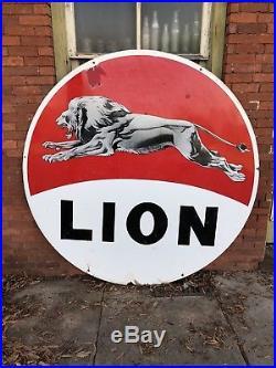 Lion Gas Sign Porcelain 6 Foot Double Sided Gasoline Oil Service Station