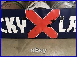 Lucky Lager Neon Porcelain Beer Sign, Gas And Oil Chevrolet And Ford
