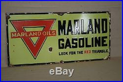 Marland Oils Gasoline Porcelain Sign Gas Oil Farm Seed Tractor Conoco