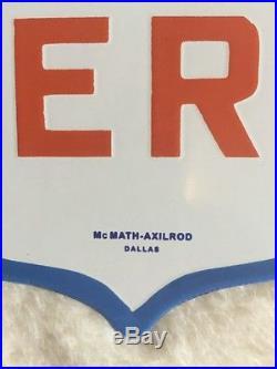 MOBILOIL AERO PORCELAIN DIECUT PUMP PLATE. MAKERS NAME. GAS/oil. Grommets Intact