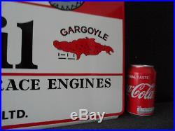 MOBILOIL Gargoyle Plaque Emaillee Double Sided HQ Metal Porcelain Enamel Sign