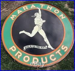 Marathon Gas Motor Oils Porcelain Sign 48 DSP Original Petrol