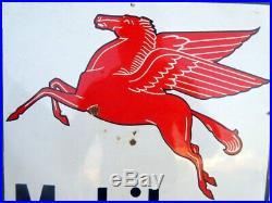 Mobil Gas Oil Flying Horse Ad Porcelain Enamel Sign Board Vintage 1940 Old Rare