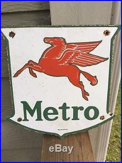 Mobil Oil Pegasus Metro rare and vintage porcelain gas pump sign
