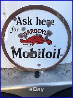 Mobil Oil gargoyle Porcelain Sign