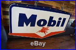 Mobil Vintage Mobilgas Porcelain Gas Sign Pegasus 1957 2 sided CLEAN Dealer Adv