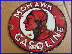 Mohawk Gasoline Indian Porcelain Sign Oil Gas Station Pump Plate Vintage decor