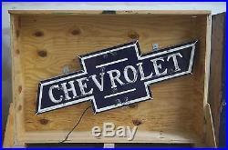 NOS Chevrolet Bowtie Porcelain Neon Dealership Sign 61 x 21 OK GM Authorized