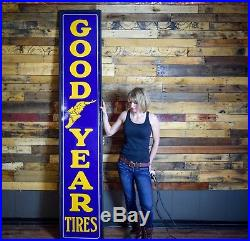 NOS Porcelain Goodyear Tires Sign 8' Amazing Gas Oil Station Dealer Advert WOW