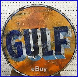 Neat 30 Original Gulf Porcelain Sign Low Reserve