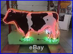 Neon Painted Cow, Not Porcelain, Gas And Oil, Chevrolet And Ford