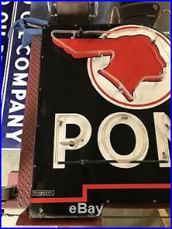 Neon Pontiac Dealership Porcelain Sign, Gas And Oil Chevrolet And Ford