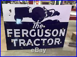 Neon Porcelain Ferguson Tractor, Gas And Oil, Chevrolet And Ford