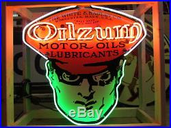 New Porcelain Single-Sided Oilzum Neon Sign 48 Wide x 48 High