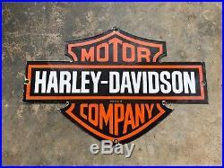 Nice Harley Davidson Double Sided Porcelain Dealer Sign, Dated 1954