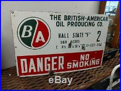 Nice Porcelain British American Oil Well Lease Sign
