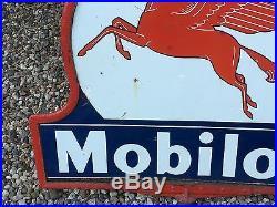 OId ORIGINAL Mobil MOBILOIL Pegasus Lollipop Porcelain Sign Gas Oil Station DSP