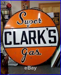 OLD 6' tall Clarks Super Gas sign, look at my porcelain oil, neon signs