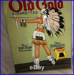 OLD GOLD CIGARETTES With INDIAN WOMAN SMOKING GAS OIL SIGN Porcelain Metal