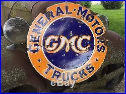 OLD ORIGINAL VinTagE GMC TRUCK General Motors 30 DSP PORCELAIN DEALERSHIP SIGN