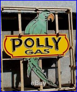 OLD Polly Gas Parrot porcelain neon sign die cut 1940's