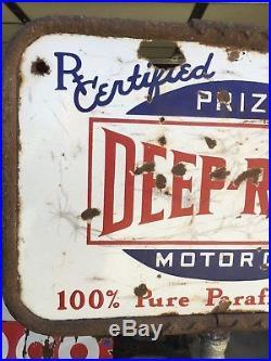 ORIGINAL 1920's 30's VinTaGe DEEP ROCK Sign UniQuE Old PATINA! Gas Oil PORCELAIN