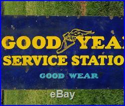ORIGINAL 1920's GOODYEAR SERVICE STATION PORCELAIN AUTOMOBILE TIRE SHOP SIGN