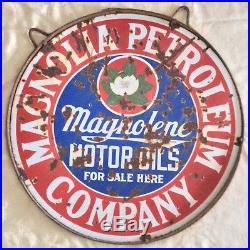 ORIGINAL 1920's PORCELAIN MAGNOLENE MOTOR OILS SIGN With MOUNTING RING