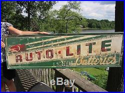 ORIGINAL 1940's EMBOSSED AUTO-LITE BATTERIES SIGN TIN LITHOGRAPH NOT PORCELAIN