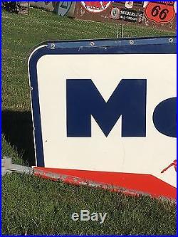 ORIGINAL 1950's MOBIL Oil Pole Sign & Hangers Porcelain PEGASUS service station