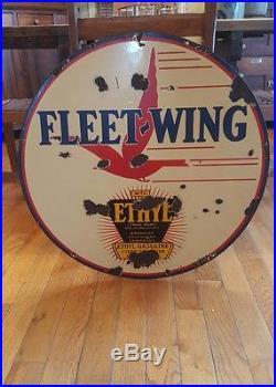 Original 30 Double Sided Fleet Wing Lollipop Porcelain Sign! Oil Petroliana