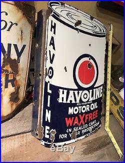 ORIGINAL HAVOLINE MOTOR OIL PORCELAIN SIGN FLANGE Dated 3-35