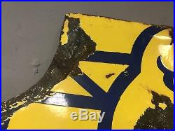 ORIGINAL Large GOODYEAR SERVICE STATION PORCELAIN Wing Foot TIRE Gas Oil SIGN
