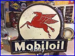 ORIGINAL Mobil MOBILOIL Pegasus Lollipop Porcelain Sign w Base Gas Oil Station