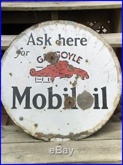 ORIGINAL Mobil Oil GARGOYLE Porcelain Sign 1940's Scarce Variant A Great LOOK