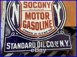 ORIGINAL STANDARD OIL CO. N. Y. SOCONY GASOLINE PORCELAIN STEEL FLANGE SIGN 20x24