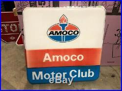 ORIGINAL Vintage AMOCO MOTOR CLUB SIGN Standard Gas Oil Patina OLD CAN SHIP