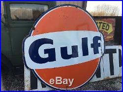 ORIGINAL Vintage GULF SIGN Gas Oil LARGE Old PORCELAIN Station CAN CRATE & SHIP