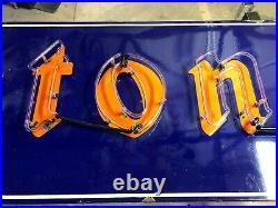 ORIGINAL Vintage NEON FIRESTONE Tire Sign PORCELAIN Car Truck OLD Gas Oil OLD