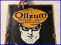 Oilzum Motor Oils Lubricants 1940's Vintage Porcelain 2 Sided Enamel Sign