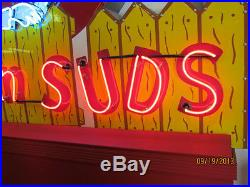 Old Dog n' Suds Porcelain Neon Sign with Chaser Lights 8 1/2 FT W x 8 FT H