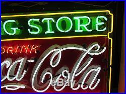 Old Drink Coca Cola / Drug Store Porcelain Sign with Neon 60 W x 46 SSPN