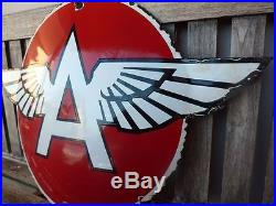 Old Flying A porcelain sign 27 heavy convex gasoline oil lubester gas Tydol