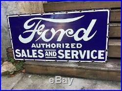 Old Ford Dealer Porcelain Sign 48